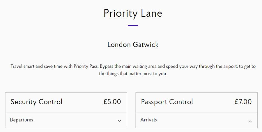 Once you've logged in to your Priority Pass online account, navigate to a participating airport to purchase Priority Lane