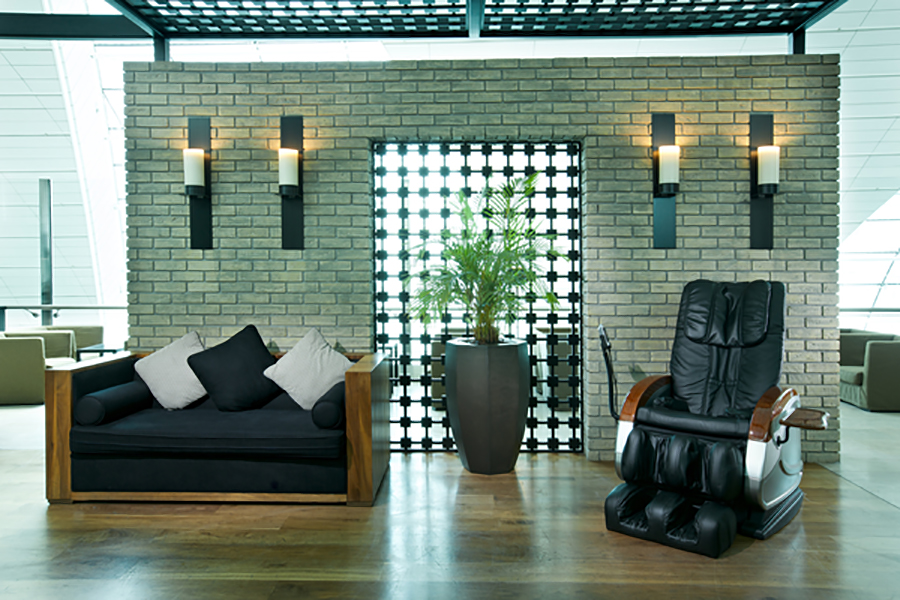 The massage chairs at the Ahlan Lounge at B are perfect for your pre-flight relaxation
