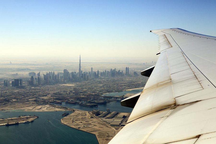 Flying in or out of Dubai International Airport provides excellent views of the stunning cityscape