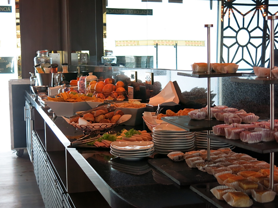 The selection of food available at Eldorado Lounge, Bogota