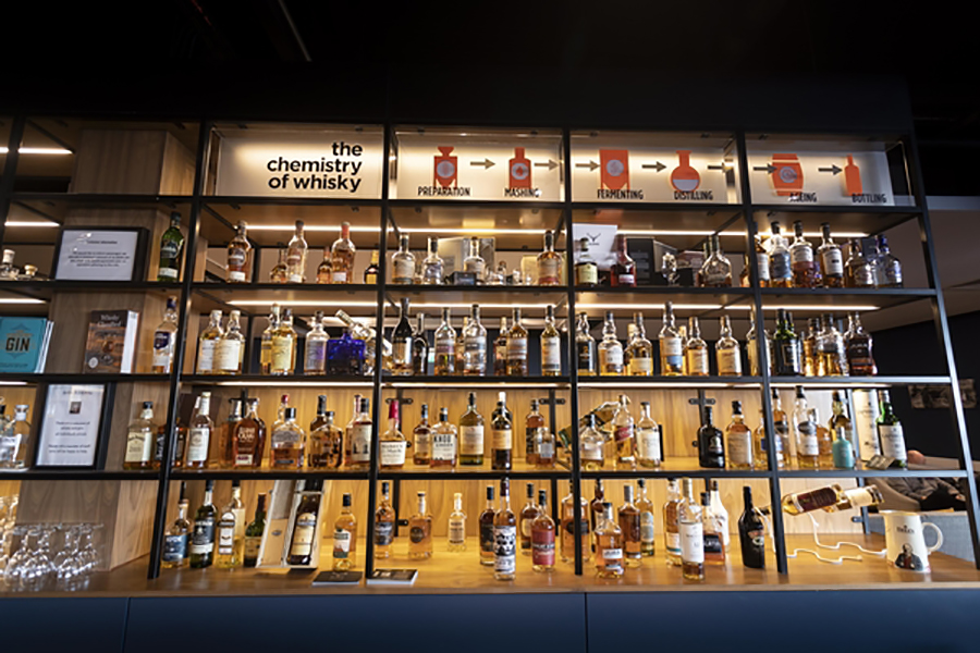 The Whisky wall contains up to 100 different brands of whisky. Have a specific taste? You'll be able to find a whisky to meet it