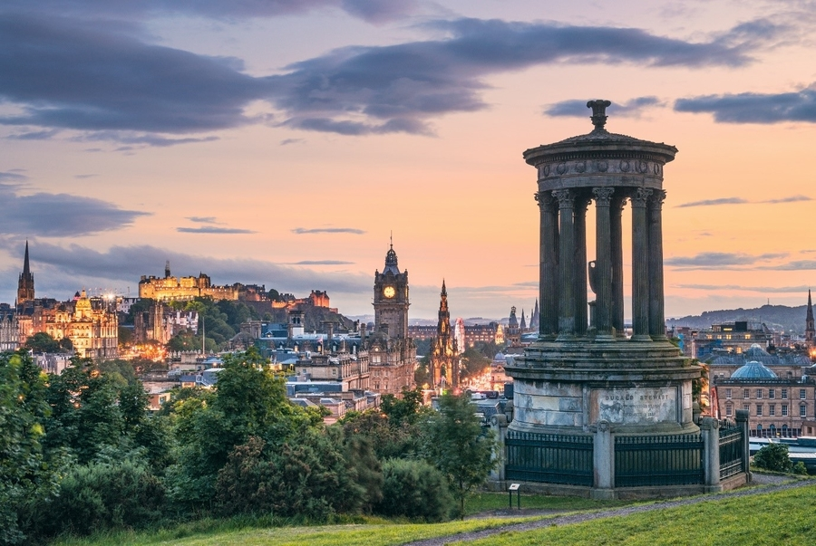 Edinburgh's skyline, including many of its famous historic landmarks, as seen from Calton Hill