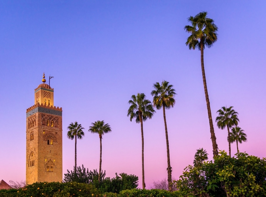 Koutoubia mosque in Marrakech at dusk