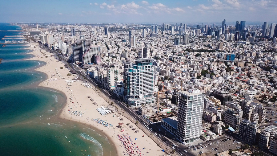 Tel Aviv coastline and skyline as seen from above the Mediterranean